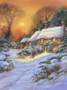 Pin by Fatiha El magroud on noel et paysages de neige Magical Christmas, Christmas Past, Winter Christmas, Illustration Noel, Christmas Illustration, Illustrations, Thomas Kinkade, Christmas Scenes, Christmas Pictures