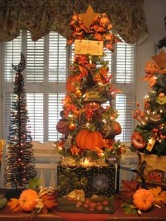country creations by denise new starlight pumpkins halloween tree - Halloween Tree Decorations