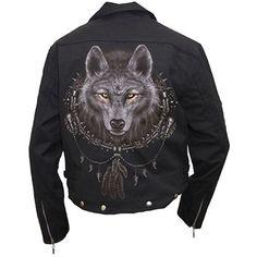 men's biker jacket wolf dreams (black) - rockcollection.co.uk - $825nok e/ fortolling