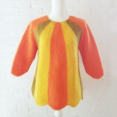 1960s Orange Ombre Mohair Sweater Vintage by KingArtsAndVintage