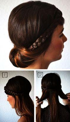 Ennél gyorsabban és egyszerűbben elkészíthető frizura nincs, ráadásul rövidebb hajból is elkészíthető. Mindössze egy végtelenített hajpánt ...