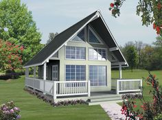 Small house floor plans are usually affordable to build and can have big curb appeal. Explore many styles of small homes, from cottage plans to Craftsman designs. House Plan With Loft, A Frame House Plans, Narrow Lot House Plans, House Plans And More, Small House Plans, Cottage Floor Plans, House Floor Plans, Cottage Plan, Lake Cottage