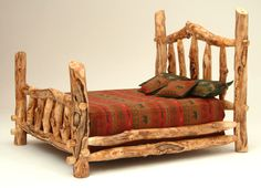 I want this bed! It makes me think of the 3 bears! Log Furniture - Burl Aspen 4 Post Log Bed with Elk Markings Log Cabin Furniture, Rustic Bedroom Furniture, Rustic Bedding, Solid Wood Furniture, Diy Bedroom Decor, Furniture Ideas, Rustic Bedrooms, Western Furniture, Wood Bedroom