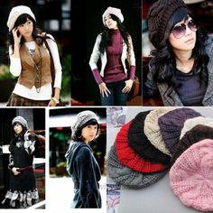 Women's Beret Braided Baggy Knit Crochet Beanie Hat Ski Cap Winter Warm Cap #Unbranded #Beret