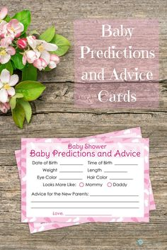 Here is a fun baby shower activity for your guests to play as well as a great keepsake for the expecting parents. This packages includes 20 baby advice and predictions cards that are inches. Baby Girl Shower Themes, Fun Baby Shower Games, Baby Shower Gender Reveal, Baby Shower Favors, Shower Party, Baby Shower Parties, Shower Gifts, Baby Boy Shower, Baby Shower Decorations