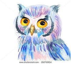 Bright colorful watercolor illustration of an owl on a white background