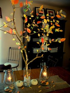 How To Make Your Very Own Autumn Tree - You'll never guess what she made the leaves out of!