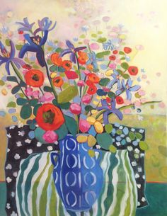 """Daily Painters Abstract Gallery: Contemporary Abstract Still Life Flower Tulip Art Painting """"Spring in the Air"""" by Santa Fe Artist Annie O'Brien Gonzales"""
