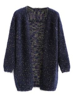 Navy Fluffy Open Front Cardigan With Colorful Polka Dot