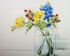 """This is a print of an original watercolor painting of a colorful bouquet of flowers. This open-edition print is 5"""" x 7"""", and it comes matted in a new bevel-cut white 8 x 10 mat. I will include an acid-free foamboard backing, and everything will be ready to pop into any standard ready made 8 x 10 frame. This print could also be re-matted to fit into a larger frame. It will be wrapped in such a way that it can be given as a gift, even without framing. Please remember that all computer…"""