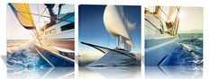 3 Pieces Yacht in the Sea Pictures Canvas Wall Artwork Giclee Prints Modern Home Decor Paintings for Living Room Decoration