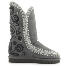 Mou Eskimo Inner Wedge Tall Embroidery Boots Iron - MOU