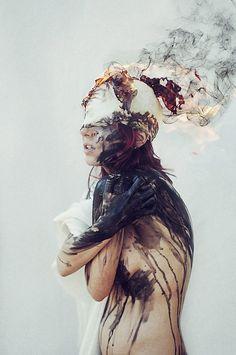 Smoke and paint filled photo manipulation