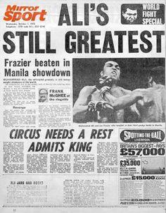 Daily Mirror Back Page: Frazier beaten in Manila showdown, October 1975