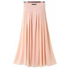 Pink Elastic Waist Pleated Long Skirt ❤ liked on Polyvore