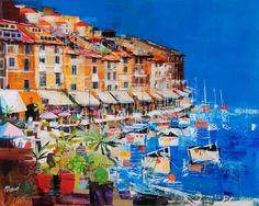 One of my favourite places - Portofino in Italy by Mike Bernard, one of my favourite artists ! Kitsch, Mike Bernard, Portofino Italy, Italy Painting, Abstract Pictures, Pictures To Paint, Medium Art, Art Oil, Mixed Media Art