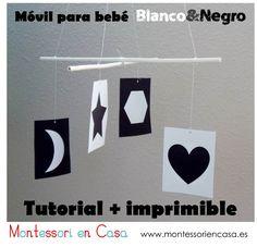 """Móvil de bebé """"Contrastes en Blanco & Negro"""" (imprimible y tutorial) - """"Black & White Contrast"""" baby mobile (printable and DIY)"""