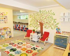I love the tree wall art deco and the white storage shelves with the red toy bins!