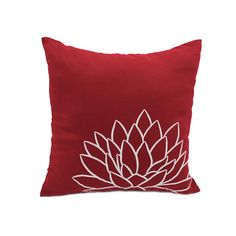 Red White Decorative Pillow Cover Lotus Floral Embroidered | Etsy