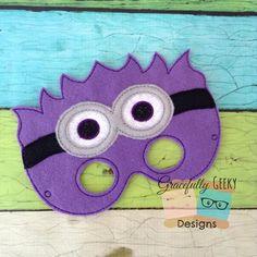 Evil minion 2 Felt Mask Embroidery Design - 5x7 Hoop or Larger