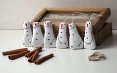 Holiday ornaments. A set of 3 snowman. by Adatine