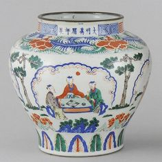 """SAN TS'AI PORCELAIN JAR Possibly Transitional Period, Figural landscape decoration with a lappet band below and a peony band above. Six-character Wan Li Ming mark on rim. Height 10 1/4""""."""