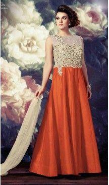 Orange Color Silk A Line Style Stitched Narrow Pants Suits | FH468672860