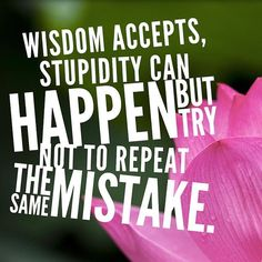 Wisdom accepts stupidity can happen but try not to repeat the same mistake.
