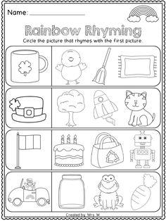 Patrick's Day Literacy and Math Printables - Kindergarten - Rainbow Rhyming by estelle Rhyming Worksheet, Rhyming Activities, Worksheets, Kindergarten Literacy, Kindergarten Classroom, Infant Classroom, Classroom Ideas, School Rhymes, Spring School