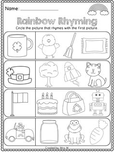 FREE St. Patrick's Day Literacy and Math Printables - Kindergarten - Rainbow Rhyming