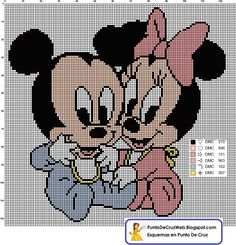 Esquema en Punto De Cruz de los bebes Disney Mickey y Minnie Mouse   Descarga esta imagen de los dos personajes mas conocidos de Disney, Mi...