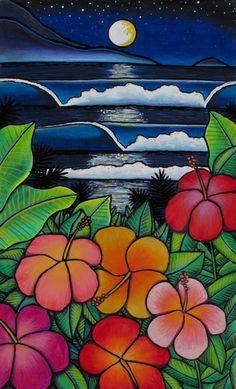 """Moonlit Waves"" - by Amy Hammond Art Surf, Heather Brown Art, Images Noêl Vintages, Posca Art, Surfboard Art, Skateboard Art, Hawaiian Art, Art Drawings For Kids, Tropical Art"