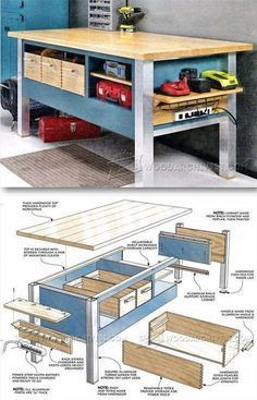 Power Tool Workbench Plans - Workshop Solutions Plans, Tips and Tricks | WoodArchivist.com #WoodworkingBench