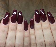 Dark Red acrylic nails