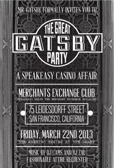 great gatsby themed invitations - Google Search