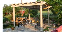Vinyl Pergolas  Vinyl pergolas are constructed 100% of low maintenance light weight poly vinyl that will stand up to the elements for a long time. A vinyl pergola provides a stunning backyard centerpiece. All vinyl materials have a lifetime guarantee