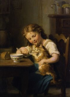 Fritz Zuber-Buhler (1822-1896) - My Best Friend - girl and cat