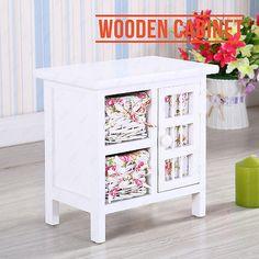 Retro White Shabby Chic Wooden Wicker Cabinet Storage W/ Baskets