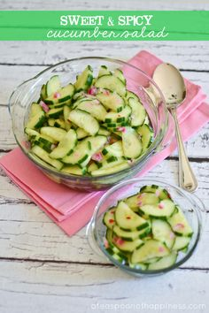 Sweet and Spicy Cucumber Salad -I ended up eating almost all of it.  Used real sugar and cut the red pepper in half and it was still too spicy.  Won't make this again.
