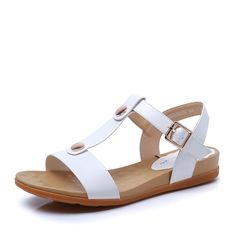 Summer Korean version/Low heels/Wedges/T-buckle/Womens sandals ** More info could be found at the image url. Shoes Flats Sandals, Low Heel Sandals, Slipper Sandals, Girls Sandals, Flat Sandals, Low Heels, Leather Sandals, Shoe Boots, Height Insoles