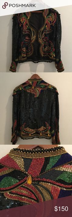 Silk Sequined Jacket Amazing sequined jacket. Heavy with beads and sequence. Only worn twice. Silk. Amazing craftsmanship. Head turner!!!! Jackets & Coats