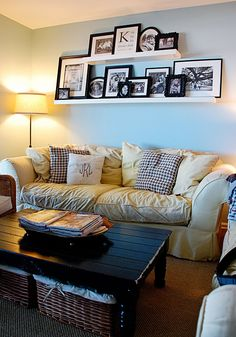 Lifter 1 Upholstery Stain Remover Picture shelves above couch for a super homey feel.Picture shelves above couch for a super homey feel. My Living Room, Home And Living, Living Room Decor, Living Room Wall Decor Ideas Above Couch, Shelves Above Couch, Wall Shelves, Ledge Shelf, House Shelves, Window Shelves