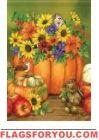 Pumpkin Floral Garden Flag
