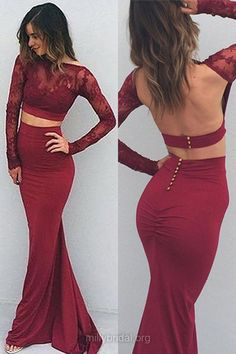 Sexy Long Prom Dresses,Backless Long Sleeve Prom Gowns,Two Piece Trumpet/Mermaid Formal Dresses,Scoop Neck Lace Evening Gowns,Silk-like Satin Sweep Train Lace Party Dresses