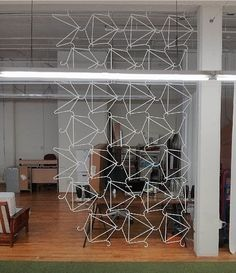 awesome, awesome DIY room divider -- made of simple wire hangers -- project and photo by Tucker Tucker Tucker Tucker Tucker McCaffrey Wire Hanger Crafts, Wire Hangers, Room Deviders, Diy Home Decor, Room Decor, Diy Room Divider, Stage Design, Diy Furniture, Sweet Home