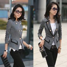 New Womens Classy Grey Fitted Military Style Smart Blazer Jacket Sz S AUS 6   eBay
