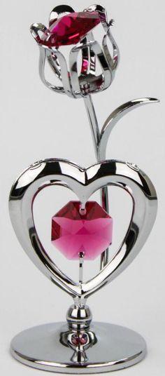Kristall Glas Rose mit Herz silberfarben MADE WITH SWAROVSKI ELEMENTS - premium-kristall