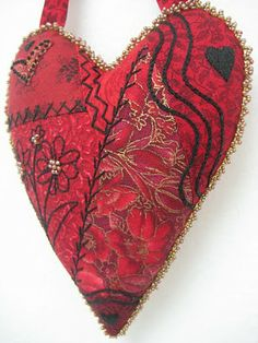 "Bird Nest On The Ground: ""That Final Red Heart. Crazy Quilt Blocks, Patch Quilt, Crazy Quilting, Patchwork Heart, Crazy Patchwork, Patchwork Ideas, Embroidery Hearts, Hand Embroidery, Crazy Heart"