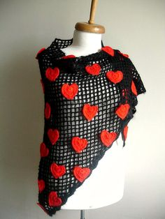 Hearts Valentines Day  Special Shawl 41 Red crochet by crochetlab, $56.00