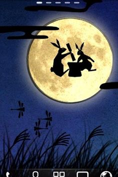 """Pinner says, """"Pounding kochi rice cakes during the fall equinox...Japanese folk tales tell us bunny rabbits live on the moon"""""""